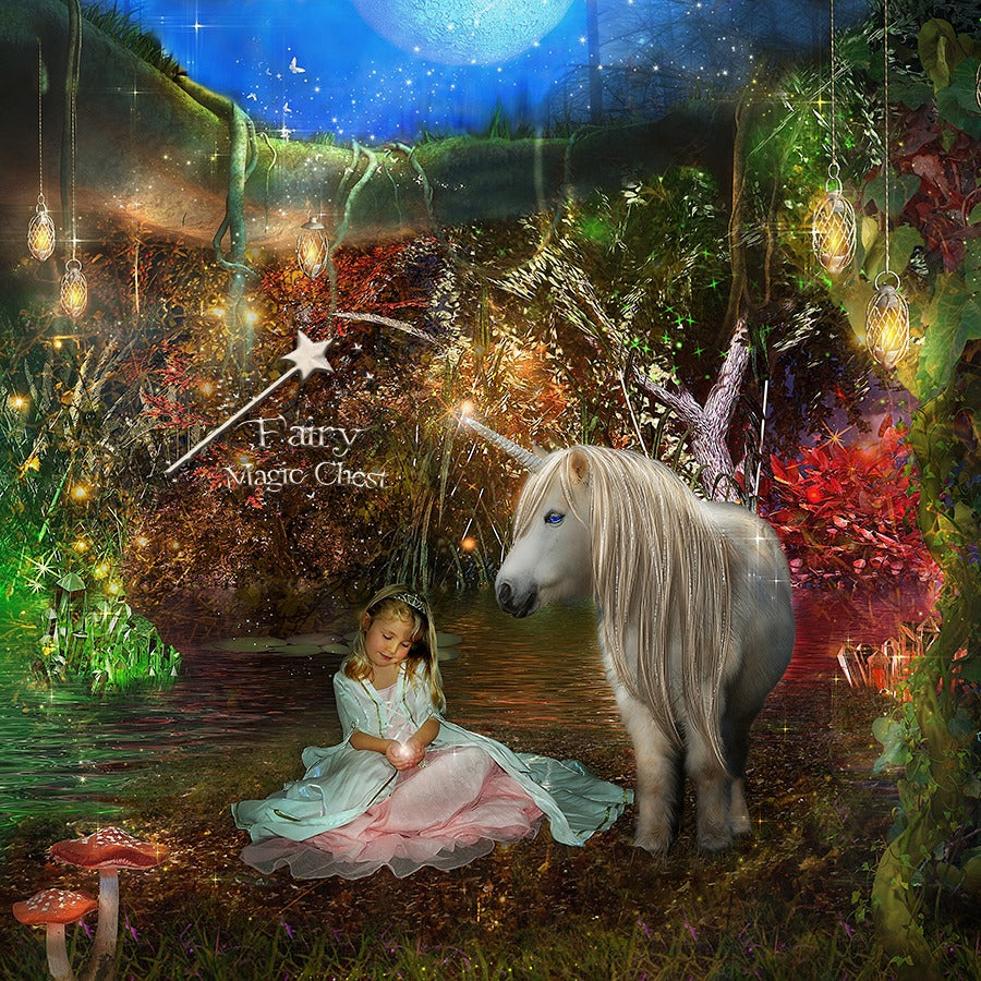 anrusa-paris-fairy-magic-chest - Digital Backgrounds , cave with pony and fence, or without - Anrusa Paris & Fairy Magic Chest - digital background / backdrop