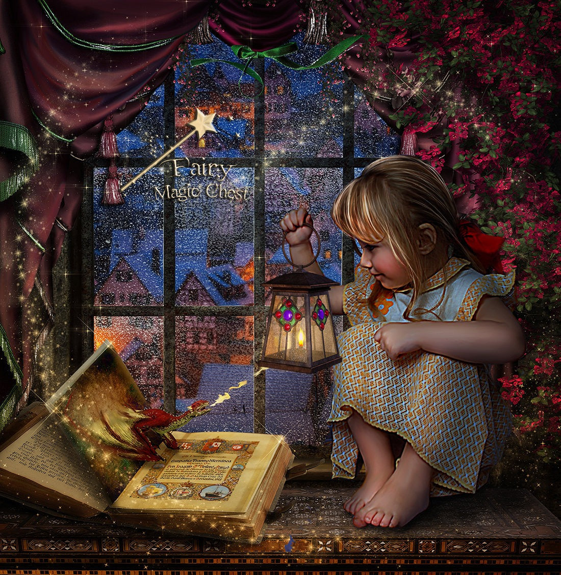 Little dragon magical book, digital background / backdrop