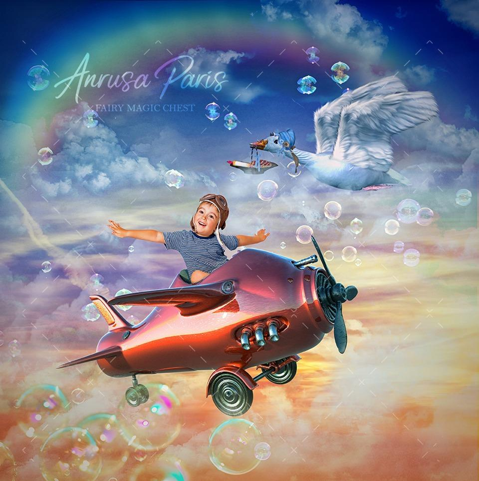 anrusa-paris-fairy-magic-chest - Digital background / backdrop vintage airplane, toy , pastel sky with or without mothergoose - Anrusa Paris & Fairy Magic Chest - digital background / backdrop