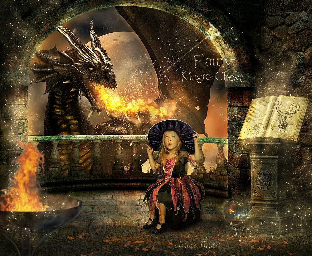 anrusa-paris-fairy-magic-chest - Fantasy digital background, medieval castle, Dragon in medieval castle, for witch, wizard, knight ... - Anrusa Paris & Fairy Magic Chest - digital background / backdrop