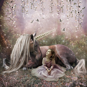 anrusa-paris-fairy-magic-chest - Fantasy Digital Background / Backdrop , Unicorn smiling in a fantasy forest - Anrusa Paris & Fairy Magic Chest - digital background / backdrop