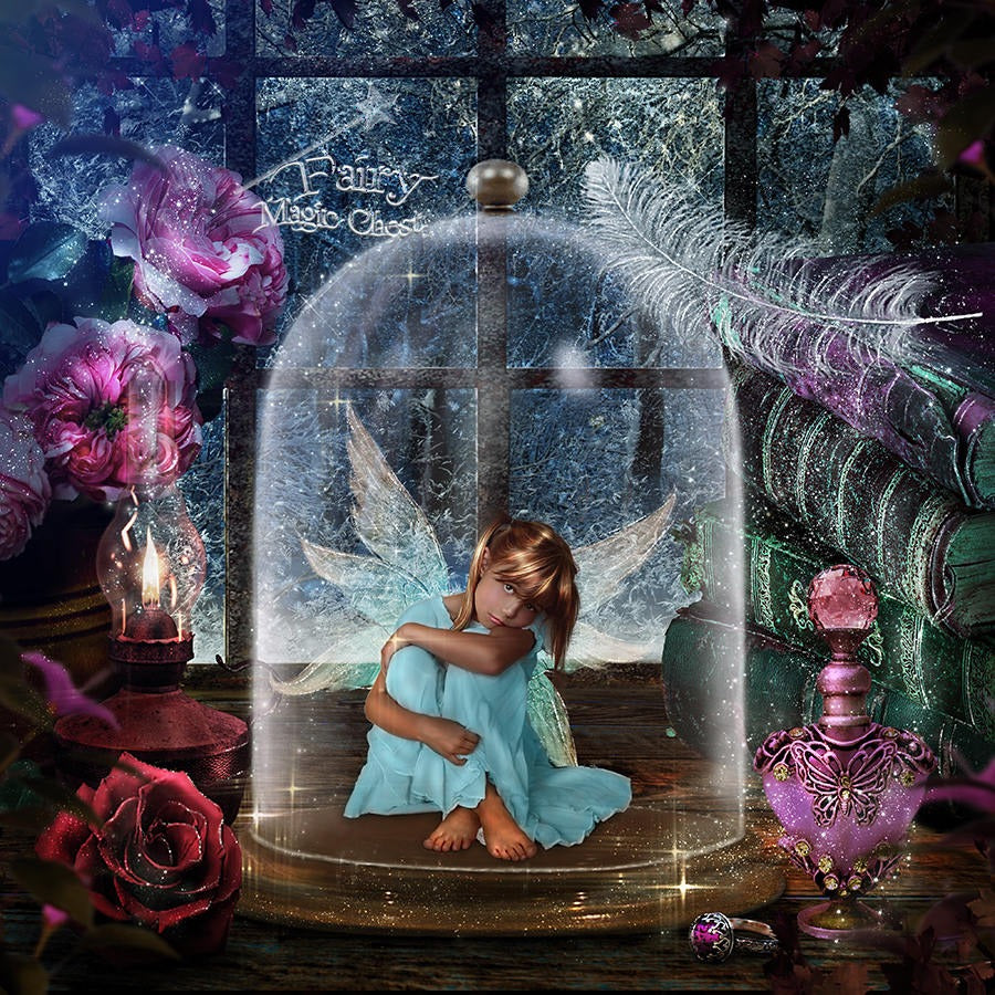 anrusa-paris-fairy-magic-chest - Glass Jar for fairy digital background / backdrop , 4 files, digital backdrop and 3 overlays - Anrusa Paris & Fairy Magic Chest - digital background / backdrop