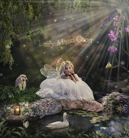 Fairy digital background / backdrop, pond and animals