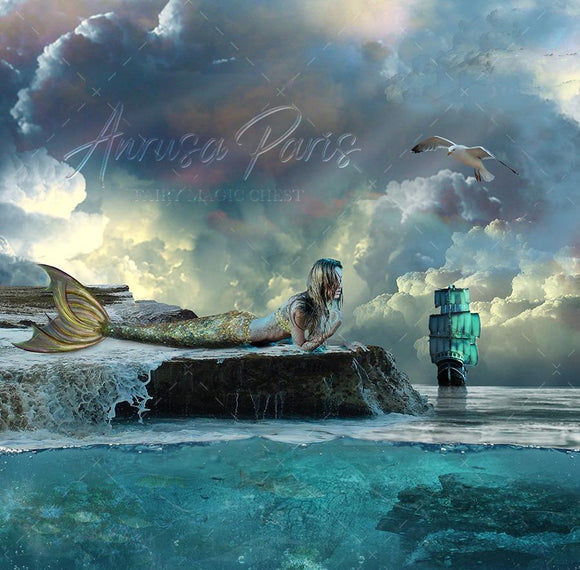 Digital background / backdrop for mermaid or pirate