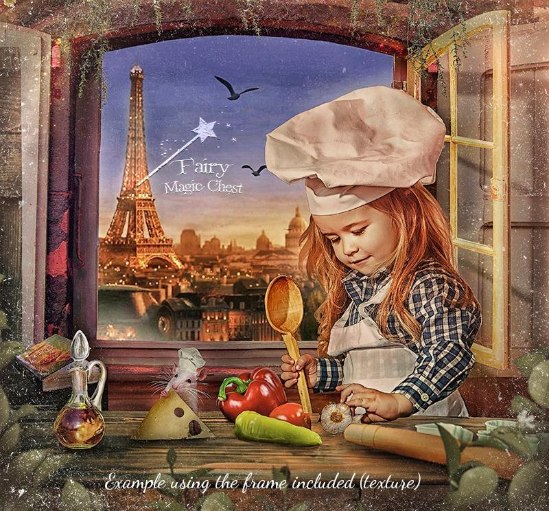 anrusa-paris-fairy-magic-chest - Digital background / backdrop for Chef in Paris , with rat and beautiful view - Anrusa Paris & Fairy Magic Chest - digital background / backdrop