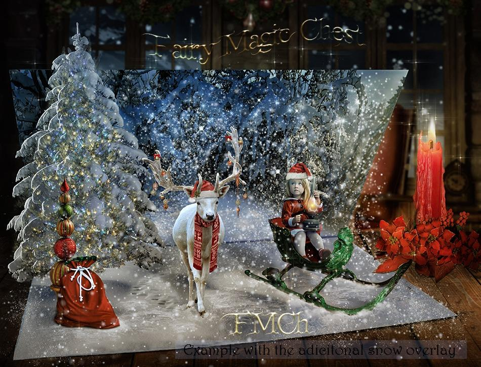 3 Christmas card digital background, and 1 overlay with snow - Anrusa Paris & Fairy Magic Chest