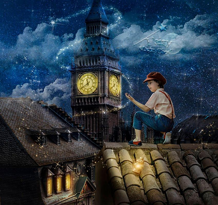 anrusa-paris-fairy-magic-chest - Big Ben digital background / backdrop , roof , Peter Pan fantasy - Anrusa Paris & Fairy Magic Chest - digital background / backdrop