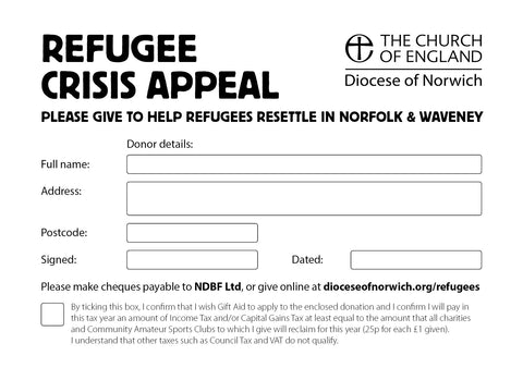 Donations envelopes for the Refugee Crisis Appeal