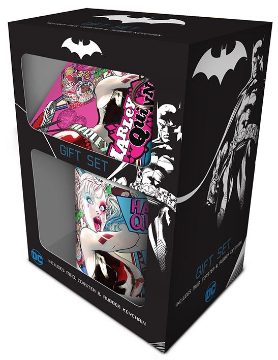 DC Comics (Harley Quinn) Mug, Coaster and Keychain Set