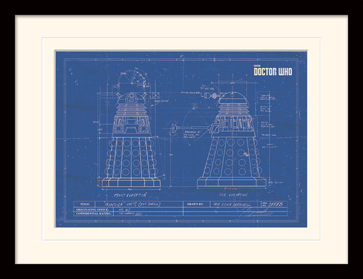 Doctor Who (Dalek Blueprint)  Mounted & Framed 30 x 40cm Print