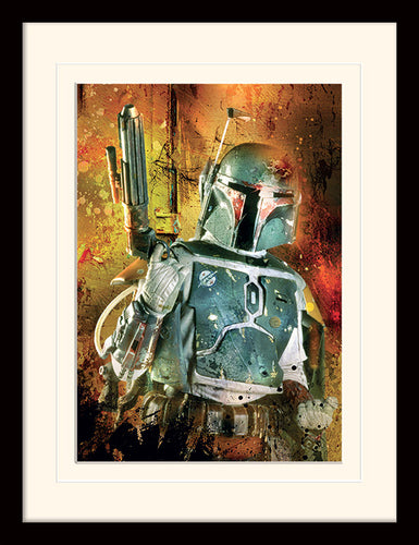 Star Wars (Boba Fett Painted)  Mounted & Framed 30 x 40cm Print