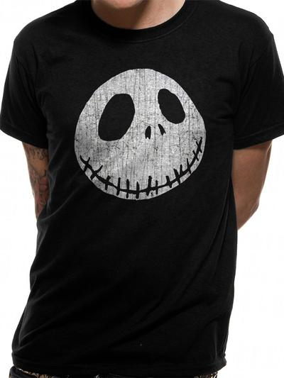 Nightmare Before Christmas (Jacks Face Distressed Print Design) Unisex T-Shirt