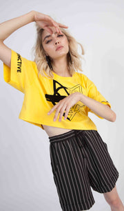 Tricou crop Yellow Wolf