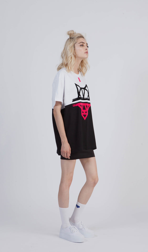 Tricou oversized Duo Pink Wolf - instinctive.ro