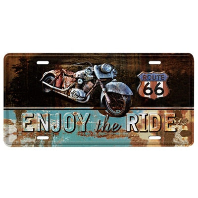 "Plaque Métal Vintage - ""Enjoy The Ride"""