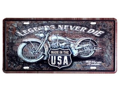 Plaque Métal Vintage - Moto Made In USA