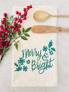 PRE ORDER Merry and Bright Tea Towel