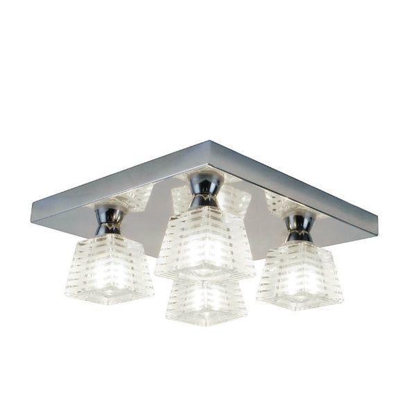 Aquila 4 Light Striped Glass Flush Fitting