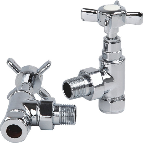 Pair Traditional C.P. 1/2' Angle Radiator Valves