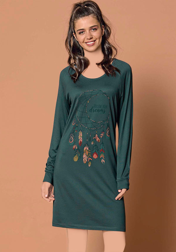 S&L Leaves Long Sleeve Nighty - Layla Collection