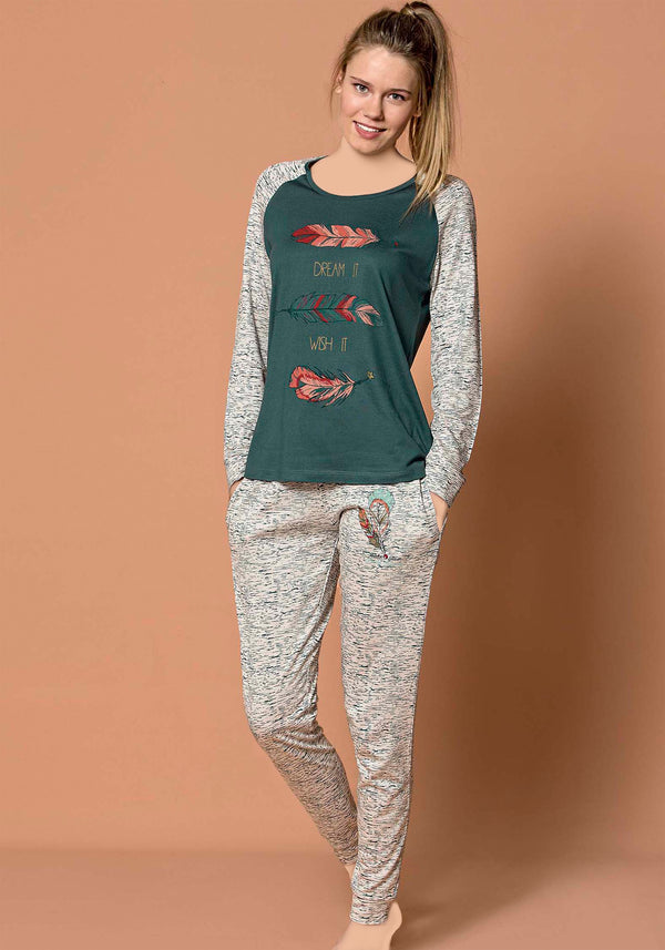 S&L Leaves Long Sleeve Pajama - Layla Collection