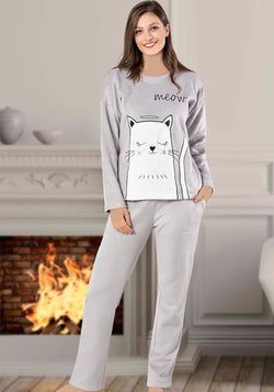 S&L Meow Long Sleeve Pajama - Layla Collection