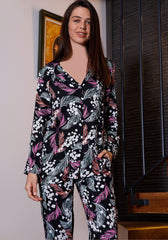 S&L Black Flower Collar Button Pajama