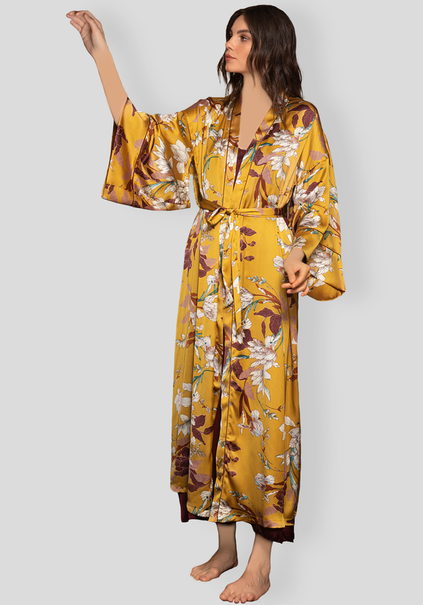 LNGR Satin Long Robe Set