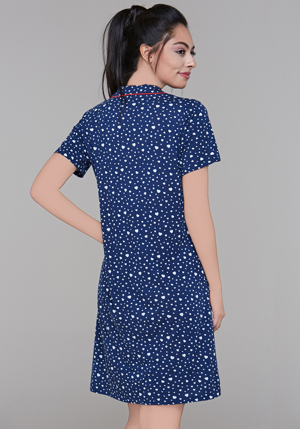 S&L Collar Button Nighty - Layla Collection