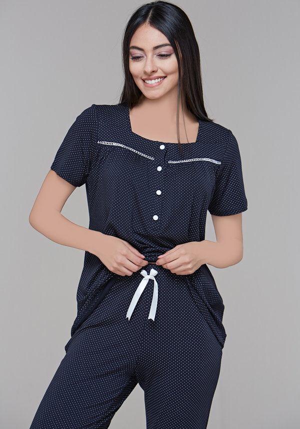 S&L Polka Dots Short Sleeve Pyjama - Layla Collection