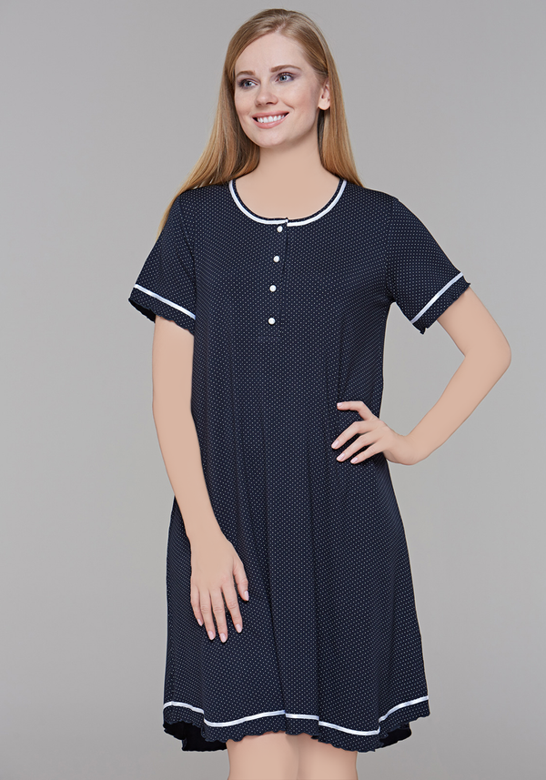 PLUS Polka Dots Short Sleeve Nighty - Layla Collection