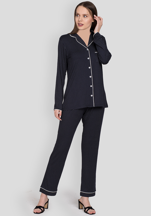 S&L Navy Collar Button Pajama