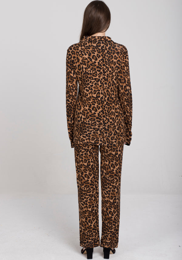 S&L Leopard Collar Button Pajama - Layla Collection