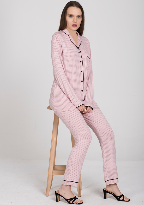 S&L Bona Petit Collar Button Pajama - Layla Collection