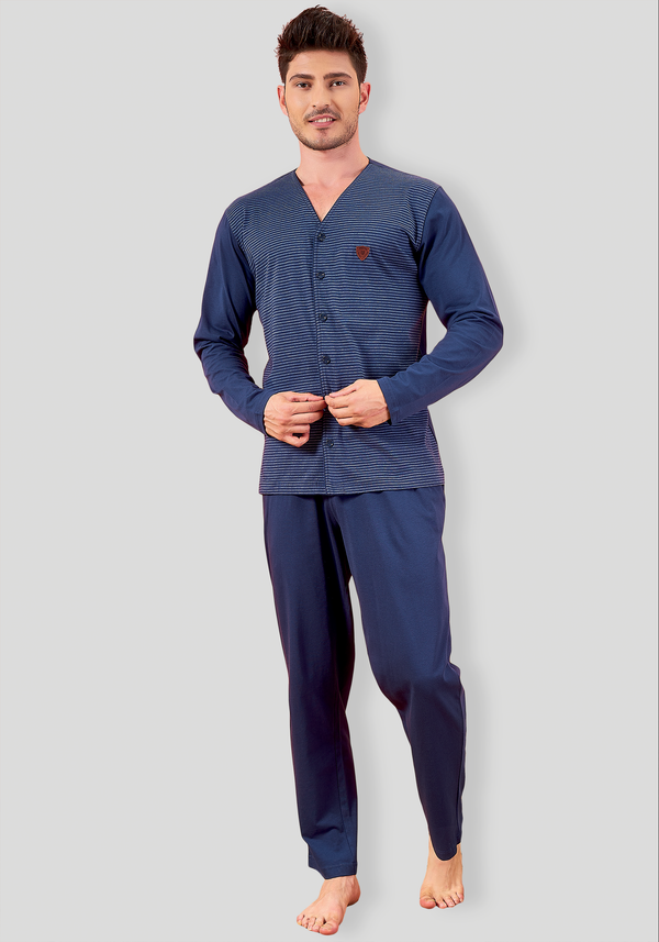 S&L Mens Button Long Sleeve Pajama