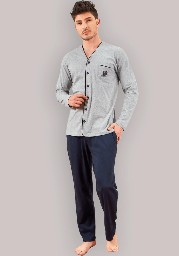 Men Long Sleeve Button Pajama