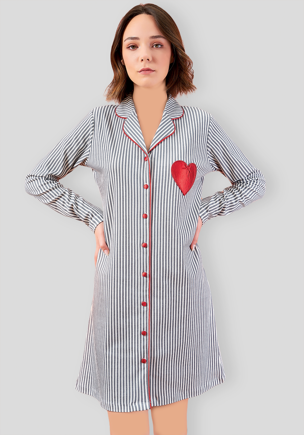 S&L Collar Button Long Sleeve Nighty