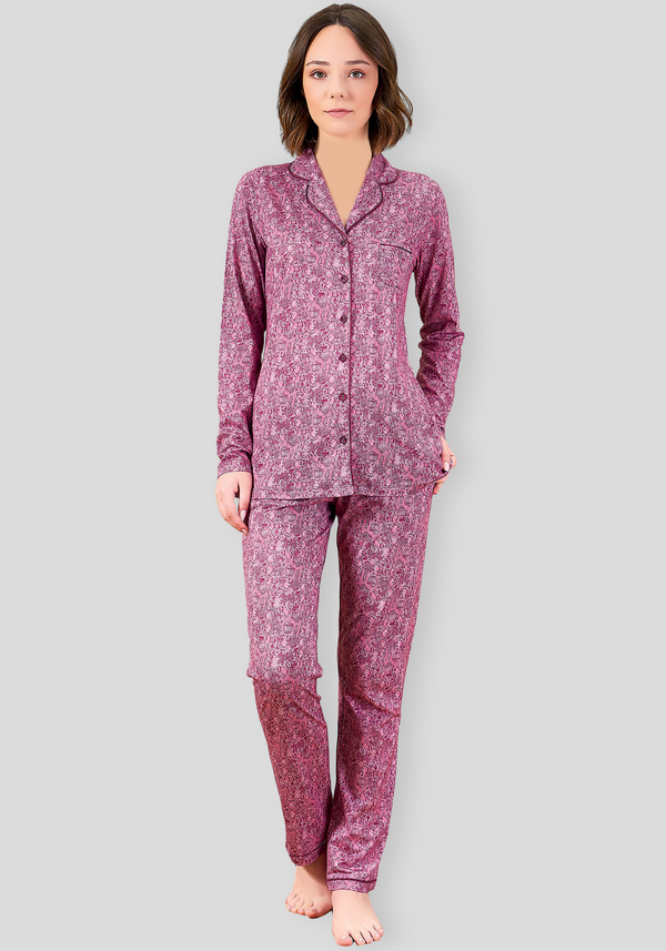 PLUS Collar Button Long Sleeve Pajama