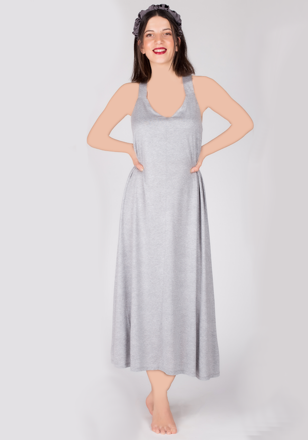 S&L Grey Long Nighty - Layla Collection