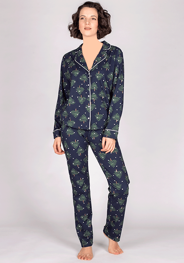 S&L Long Sleeve Collar Button Pajama