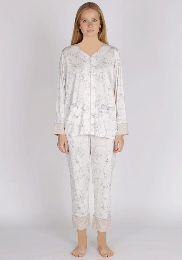PLUS Button Long Sleeve Pajama