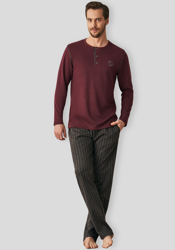 PLUS Mens Long Sleeve Pajama