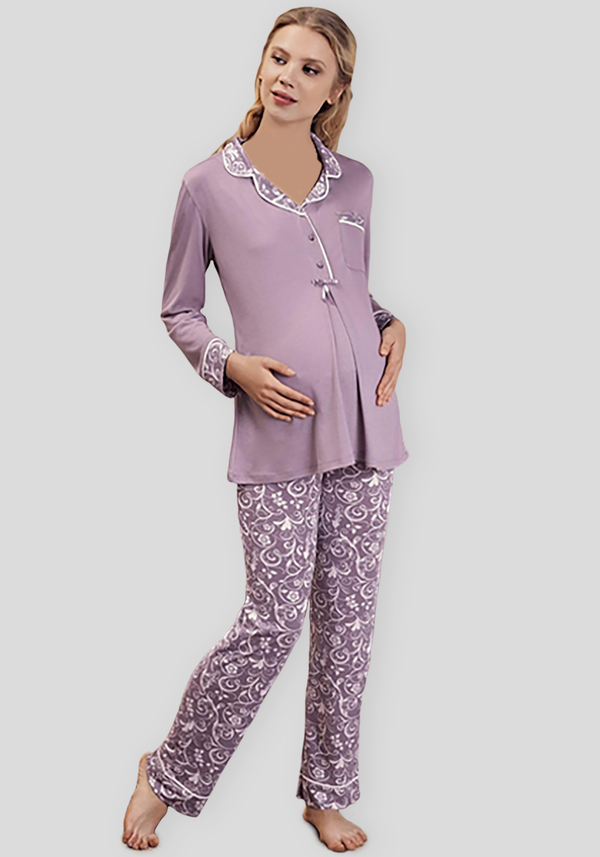Maternal Collar Button Pajama