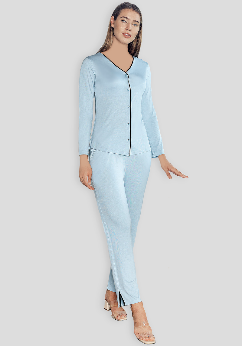 S&L Long Sleeve Button Pajama