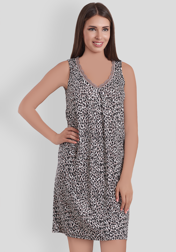 PLUS Leopard Sleeveless Nighty