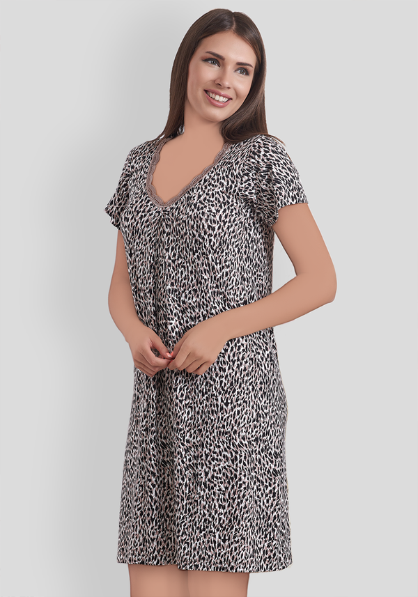 PLUS Leopard Short Sleeve Nighty