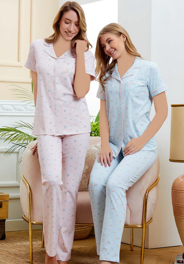 S&L Collar Button Short Sleeve Pajama - Layla Collection