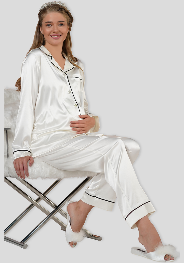 Maternal Satin Collar Button Long Sleeve Pajama