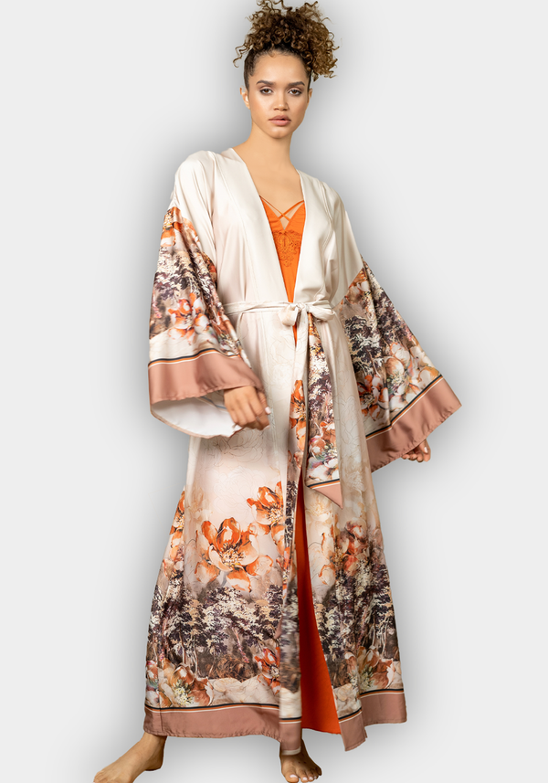 S&L Long Sleeve Satin Long Robe Set