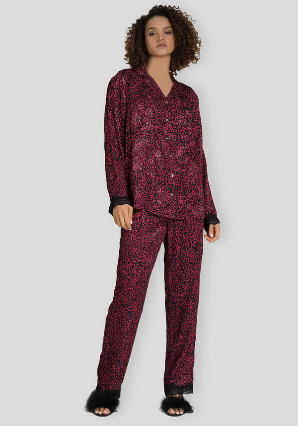 LNGR Satin Button Long Sleeve Pajama